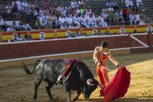 Ayudado de El Capea a 'Clavijero', un buen toro de Dolores Aguirre lidiado en la plaza de Tudela. Fotografía: Blanca Aldanondo.
