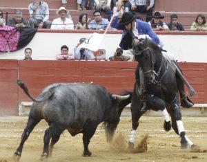 El caballero navarro, sobre 'Alquimista', en la plaza Silverio Pérez de Texcoco. Fotografías: pablohermoso.net