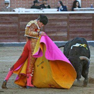Álvaro García toreando en Sanse a la verónica con un capote confeccionado en Pamlona.