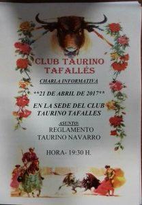 Cartel de la charla sobre el reglamento taurino de Navarra.