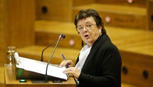 La consejera de Interior en una comparecencia enel Parlamento de Navarra.