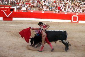 Pase de pecho de Garrido el año pasado en Corella, plaza en la que se presentó en Navarra como matador de toros. Fotografía: Nuria G. Landa.
