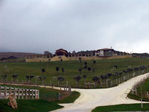 Panorámica de Noveleta, la finca estellesa de Hermoso de Mendoza, donde sufrió el percance.
