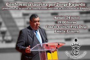 Cartel anunciador de la charla con la imagen de Jorge Fajardo.