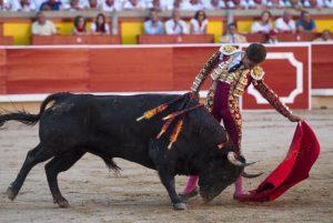Natural de Ginés Marín al toro 'Forajido', de Victoriano del Río, astado que ha conseguido el Trofeo Carriquiri al mejor toro del ciclo. Fotografía: Javier Arroyo.