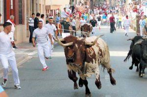Un momento del encierro de ayer en San Adrián.