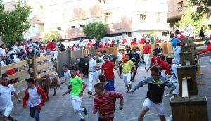 Un momento del encierro de esta mañana, en el que se aprecian menos corredores que ayer. Fotografía: Íñigo Sanz.
