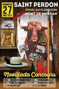 Cartel de la novillada concurso de ganaderías que se celebrará el 27 de agosto en Mont de Marsan, organizada por la peña La Muleta de Saint Perdon.