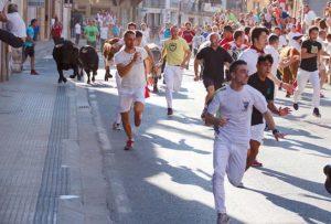 Mozos corriendo delante de los novillos de Pincha en el primer encierro de las fiestas. Fotografía: Juan Antonio Vaquero.