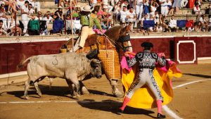 Suerte de varas en una de las corridas de toros de la pasada Feria de Tafalla.
