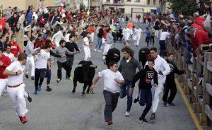 En el último encierro de Sangüesa participaron varios corredores de Pamplona.