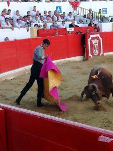 Jesúlín recibiendo a la verónica esta tarde en Peralta al segundo de sus novillos.