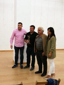 De izda. a dcha., Casto Alvero, concejal de Festejos de Cintruénigo, los ganaderos Juan Carlos Domínguez y Vicente Domínguez, y Raquel Garbayo, alcaldesa de Cintruénigo.