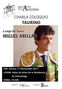 Cartel anunciador de la charla de Miguel Abellán en Cintruénigo.