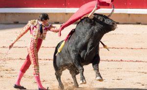 Pase de pecho de Curro Díaz el pasado 9 de julio en Pamplona.