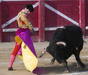 Media de Luis Vilches a un toro de Hilario Serrano hace algo más de diez años en la plaza de Sangüesa.