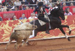El caballero navarro, con 'Alquimista' recibiendo al toro que abrió plaza. Fotografía: pablohermoso.net