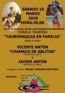 Cartel anunciador de la charla de los Antón en Albarracín.