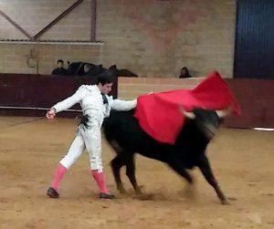 Pase de pecho de Javier Antón a uno de los toros que mató a puerta cerrada.