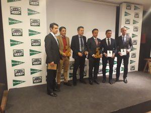 Los premiados. De izda. a dcha., Francisco Marco, Jesús Vázquez, Sergio Sánchez, Antonio Ferrera, Manolo de los Reyes y Manu Rodríguez.