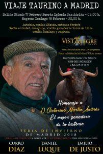 Cartel anunciador del viaje para asistir en Vistalegre a la corrida homenaje a Victorino Martín Andrés.