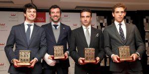 De izda. a dcha., Toñete, Javier Llarena, Enrique Ponce y Ginés Marín.