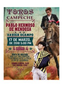 Cartel anunciador de la corrida de toros mixta en San Francisco de Campeche.