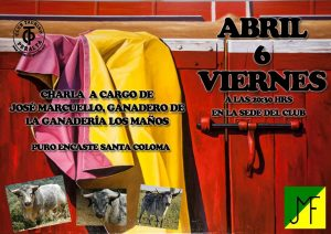 Cartel anunciador de la charla en Peralta del ganadero de Los Maños.