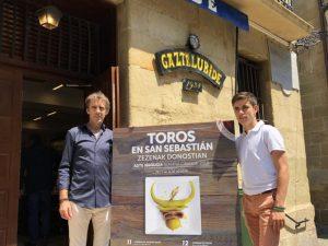Los Hermoso de Mendoza en la sociedad Gaztelubide, donde se ha presentado la Feria de San Sebastián.