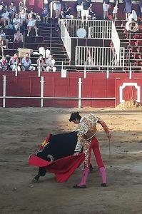 Daniel García toreando al natural esta tarde en San Adrián.