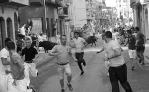 La imagen muestra escenas de peligro que provocaron los novillos de Ganadería de Pincha. Fotografía: Leticia Chanavat.