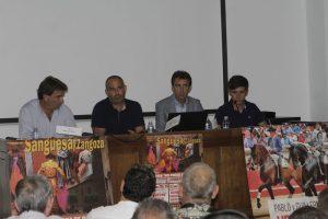De izda. a dcha., Juan Luis Ruiz, Santiago Guallar, Pablo Hermoso de Mendoza y su hijo Guillermo.