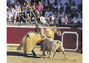 El tercero, 'Hocicón', fue bravo en varas. Fotografía: Galdona.