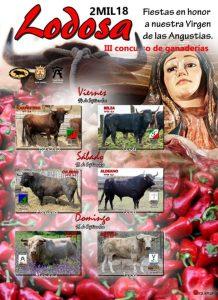 El cartel recoge las imágenes de los seis toros que, ensogados, competirán en Lodosa.
