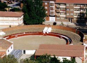 Vista aérea de la plaza de toros de Belorado, escenario del triunfo del ganadero navarro de Villafranca.