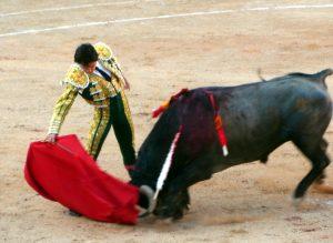 Derechazo de Del Álamo al tercero de la tarde, al que le cortó una oreja.