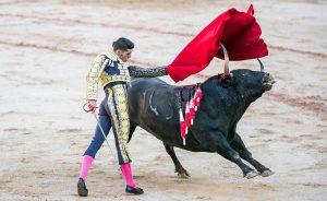 Pase de pecho de Talavante a un toro de Núñez del Cuvillo en su última actuación en Pamplona, en 2017. Fotografía: Enfoque Taurino.