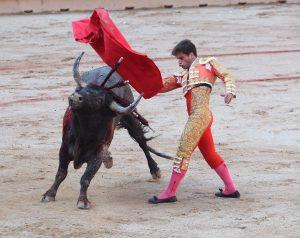 Pase de pecho de Rubén Pinar a un toro de Miura el pasado 14 de julio en la plaza de Pamplona.
