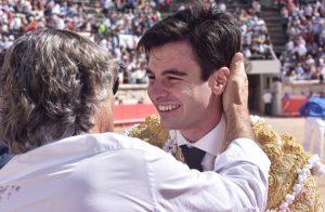 Toñete con Simon Casas el día de la alternativa del madrileño. Fotografía: SCP