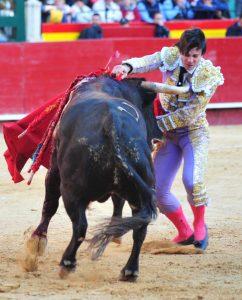 Toñete ha sufrido un fuerte golpe de pitón al entrar a matar a su primero, tercero de la tarde. Fotografía: Alberto de Jeús