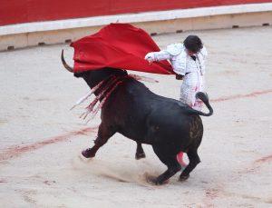 Manoletina de Roca Rey, el año pasado en la plaza de toros de Pamplona.