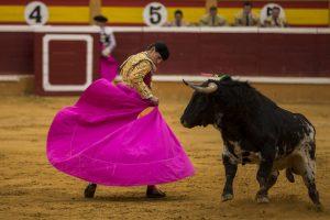 Javier Orozco se luce en un quite frene al burraco tercero. Fotografía: Garzaron.