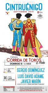 Cartel anunciador la corrida de toros de Cintruénigo.