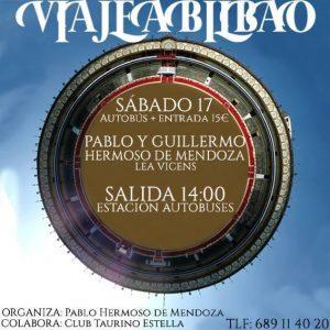 Cartel anunciador del viaje a Bilbao para ver la actuación de los Hermoso de Mendoza.