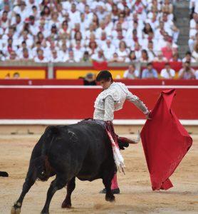 Cambiado por detrás de Roca Rey el pasado 10 de julio en Pamplona, ante el toro que iba a ser el último de su temporada europea.