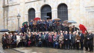 Los socios del Club Taurino de Pamplona en la iglesia de Carmelitas Descalzos, en la fiesta anual de 2016.