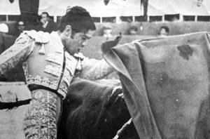 Ceñido pase de pecho del diestro colombiano Pedro Domingo.
