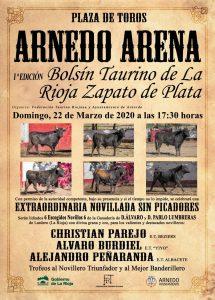 Cartel anunciador de la novillada sin picadores que se celebrará en Arnedo.