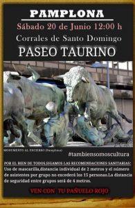 Cartel anunciador del paseo taurino en Pamplona.