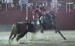 Guillermo Hermoso de Mendoza clava una corta con 'Esencial' al sexto de la tarde en Talayuela.